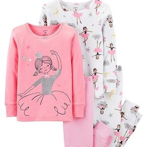 Girls Pajamas PJs 4pc Cotton Ballerina Princess